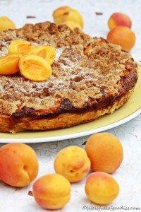 Aprikosentarte mit Marzipan und Streuseln