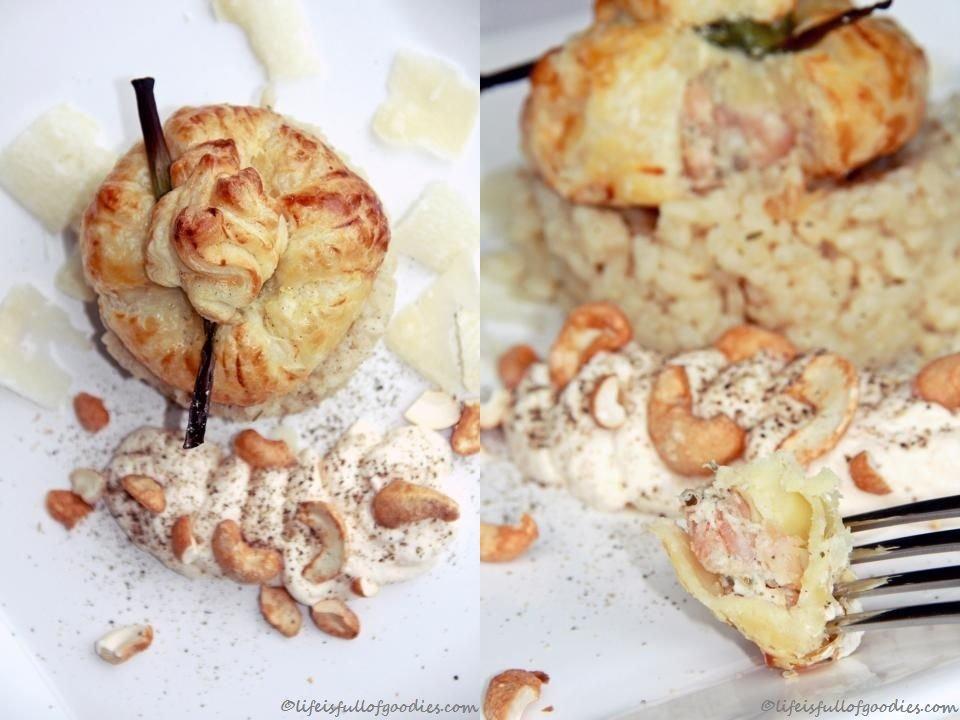Getrüffeltes Krabbenragout im Blätterteigsäckchen auf Zitronenrisotto