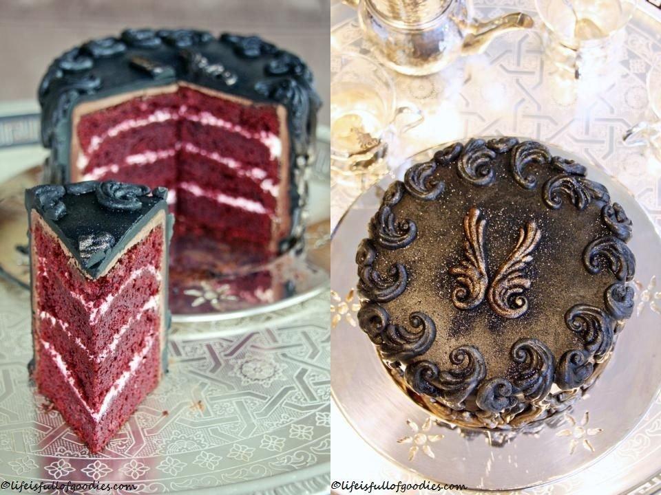 Schwarzgoldene Red Velvet Torte