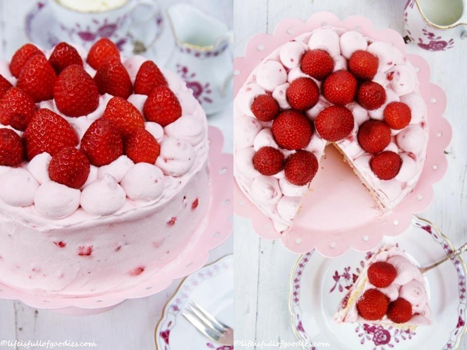 Eine kleine Erdbeer-Holunderblütenmousse-Torte