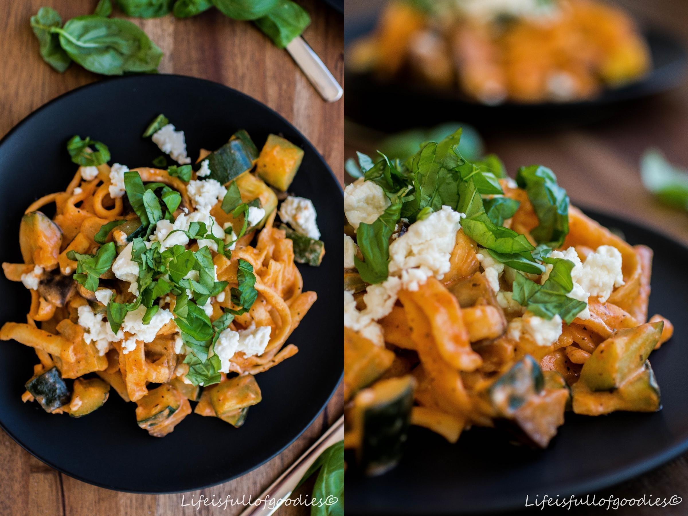 Italo-Spätzlepfanne mit Zucchini und Aubergine