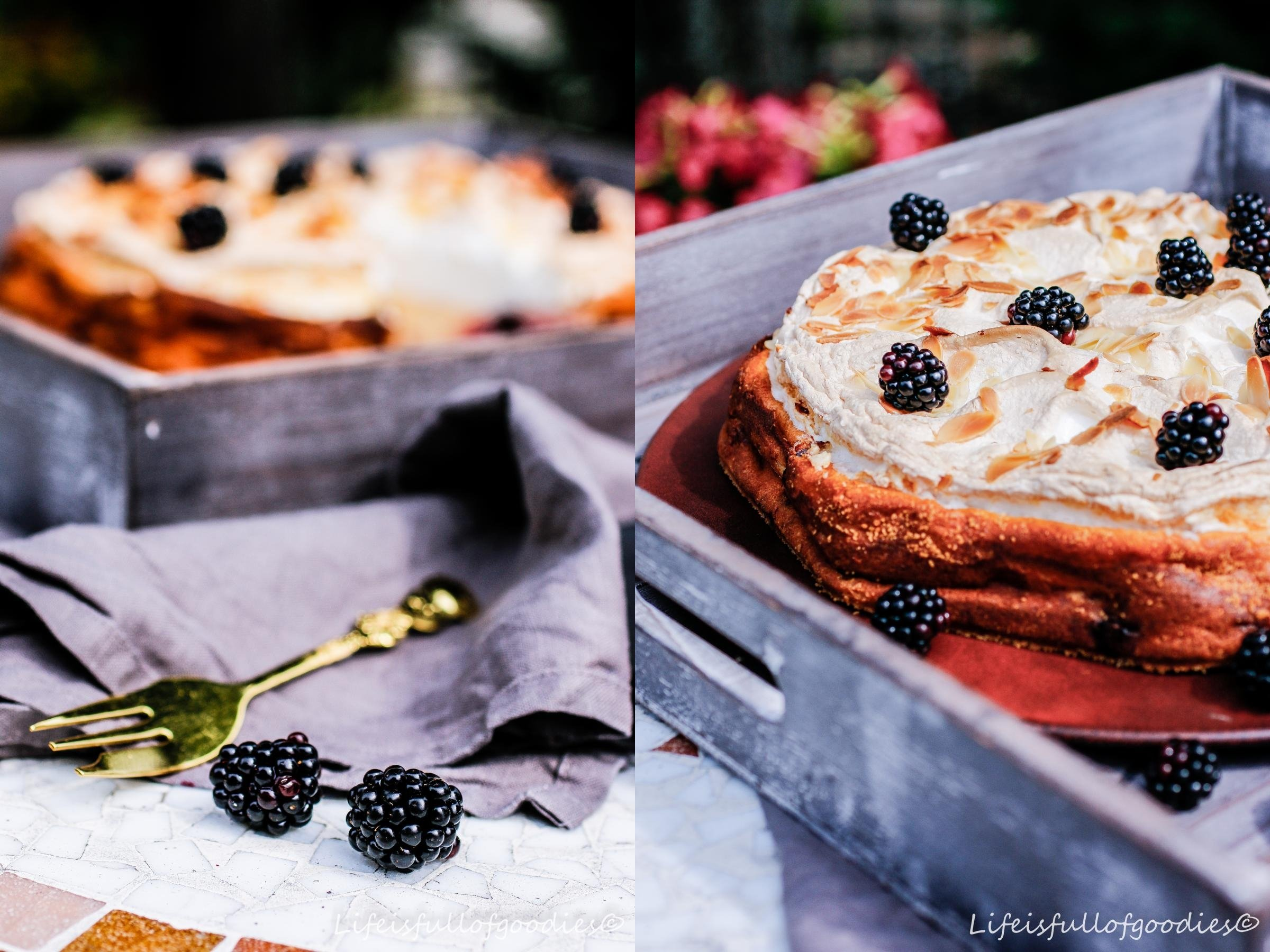 Brombeer-Quarkkuchen mit Baiser