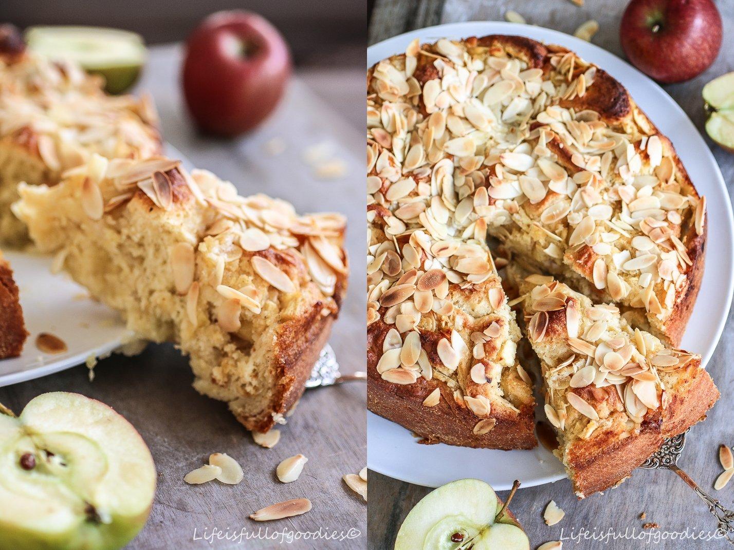 Apfel-Rosenkuchen mit Mandelblättchen