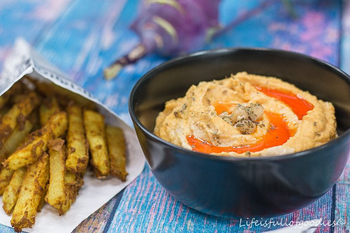 Gesunde Kohlrabi-Pommes mit Hummus