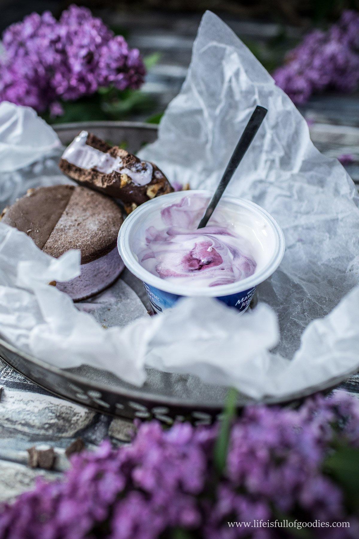 Heidelbeerjoghurt Eis Sandwiches