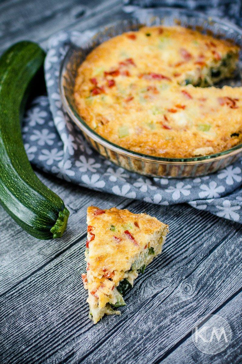 Zucchini Quiche mit Paprika - schnell und einfach