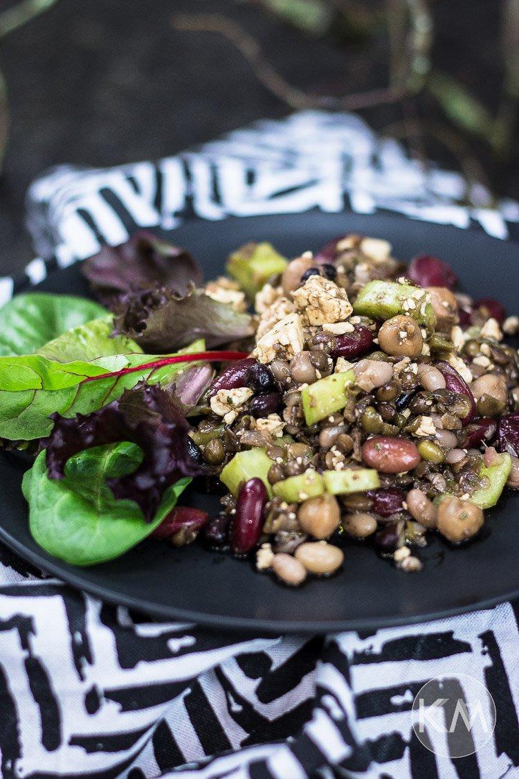 Linsen-Bohnen-Salat mit Schafskäse