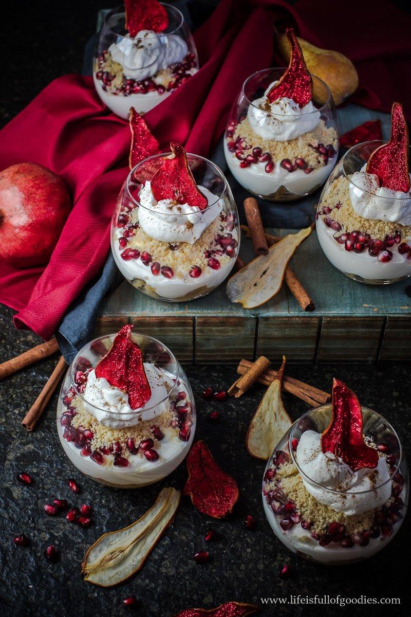 Birnen Tiramisu mit Granatapfel - auch als Apfel Tiramisu lecker!