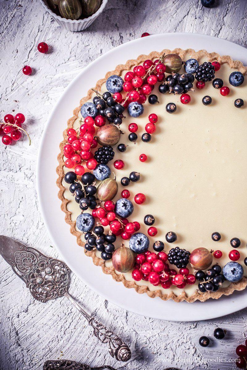 Weiße Schokotarte mit Marmelade