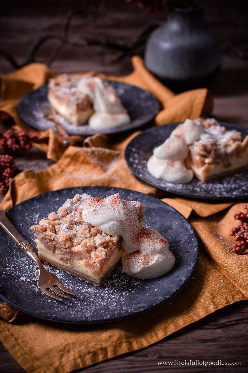 Apfel Streuselkuchen mit Vanillecremefüllung