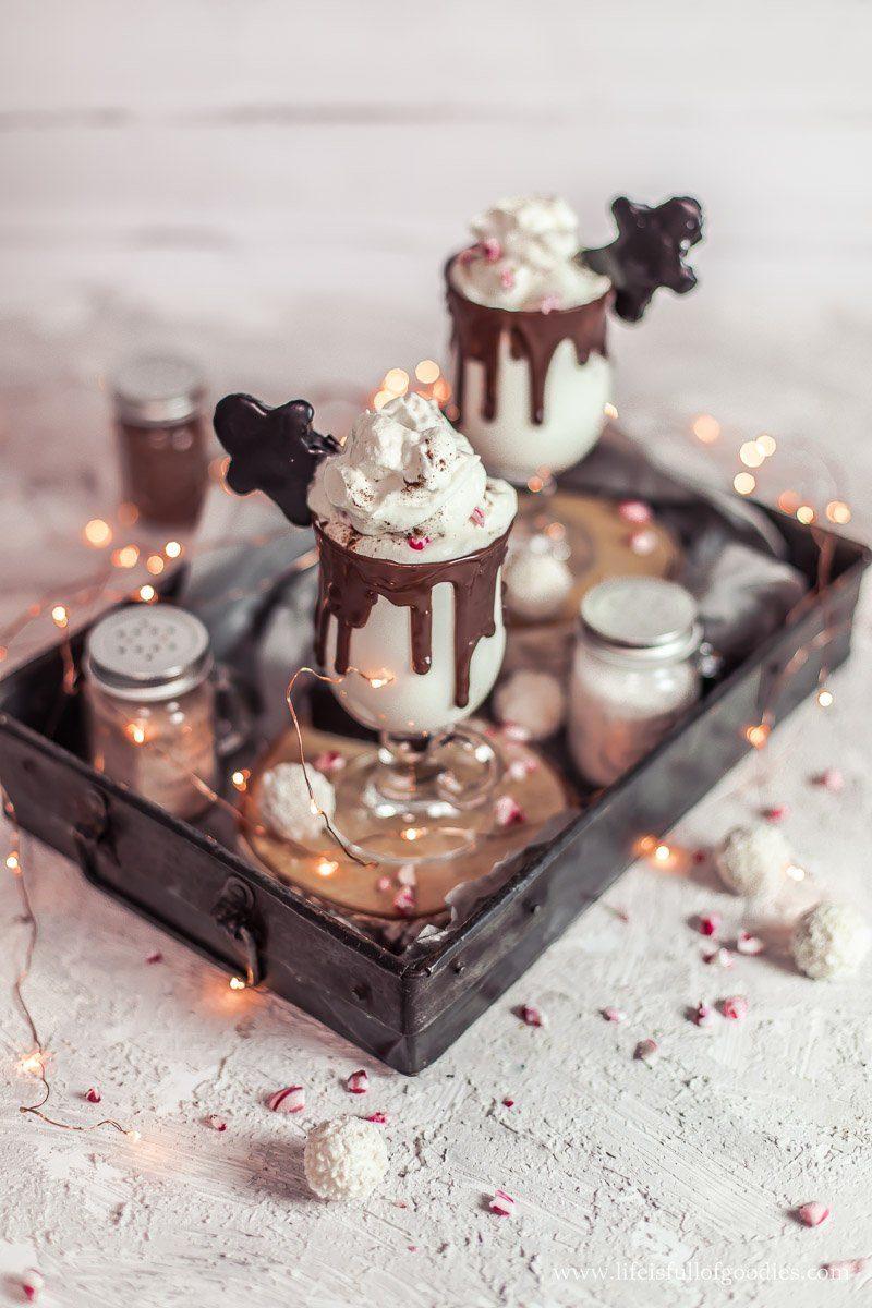Weiße heiße Schokolade mit Batida com Rum