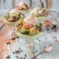 Lachs und Thunfisch Ceviche auf Senfmousse