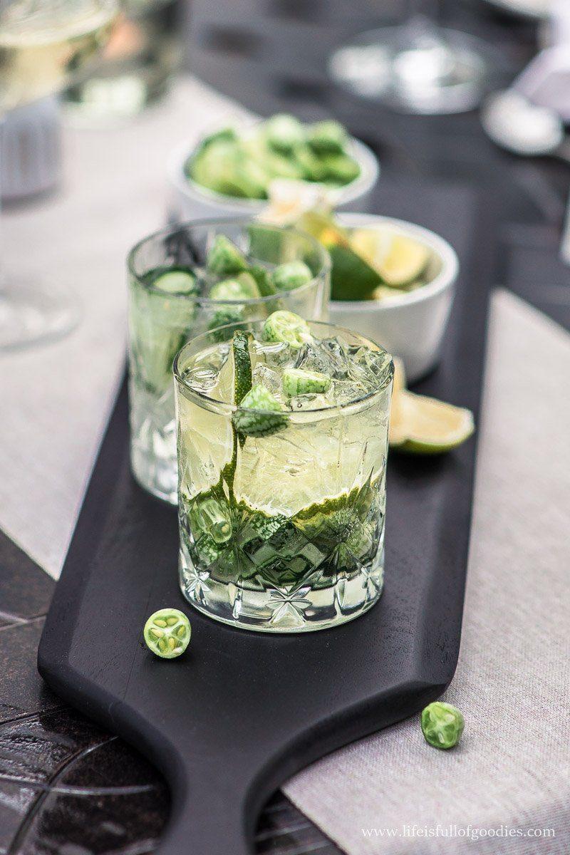 Limetten Gin Fizz mit Gurke