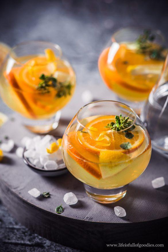 Zitronen Orangen Punsch mit weißem Kandis