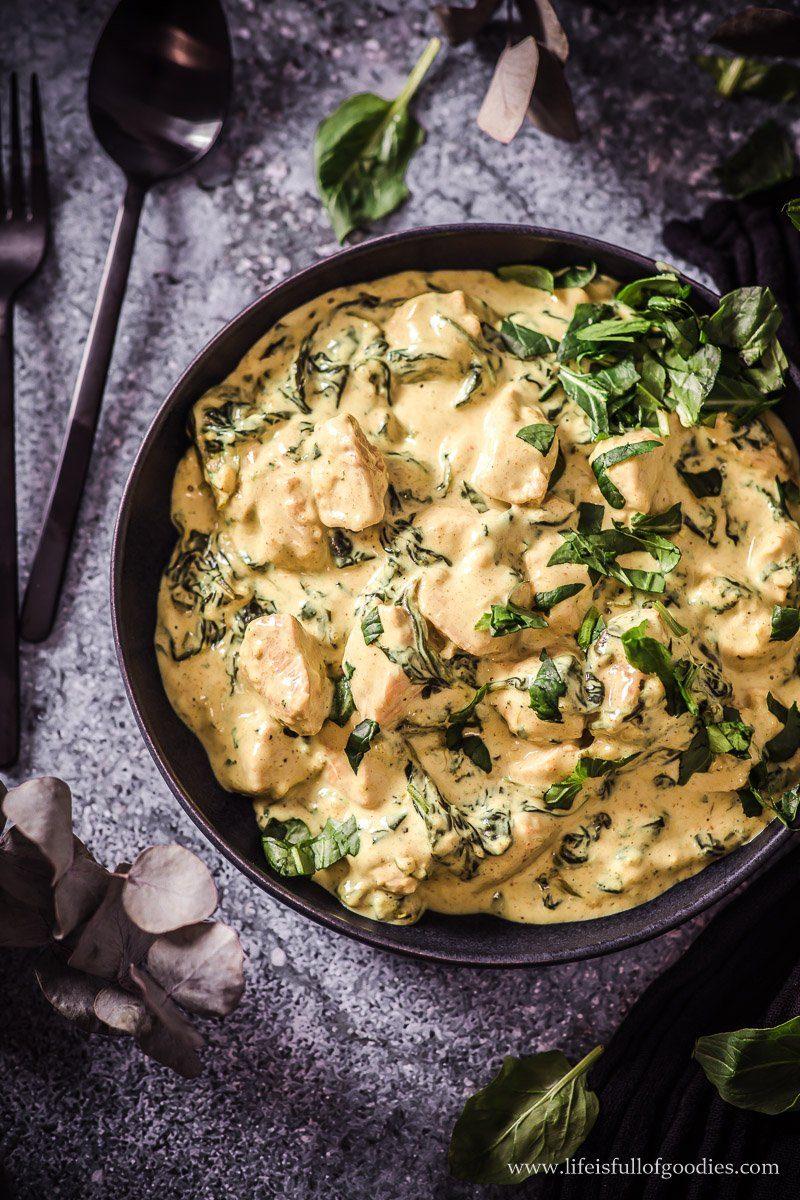 Curryrahm Pute mit Spinat - low carb und aus nur 5 Zutaten!