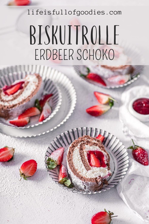 Biskuitrolle Erdbeer Schoko
