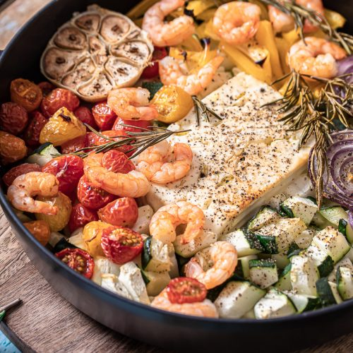 Garnelen Feta Pfanne mit Zucchini
